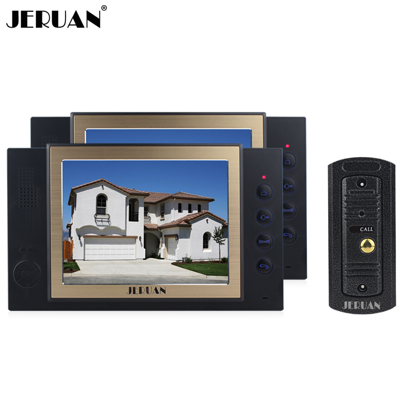 JERUAN 8 inch screen video door phone pinhole camera with video recording and taking photo 1 pinhole Camera 2 monitors jeruan 8 inch video door phone high definition mini camera metal panel with video recording and photo storage function