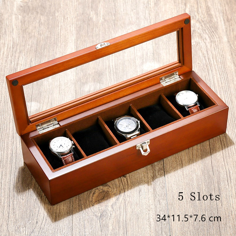 MU 5 Slots Wooden Watch Display Box With Window Fashion Coffee Color Watch Storage Case With Pillow And Lock Jewelry Box C025 solid wood watch case organizer with mens 5 slots acrylic clear window display