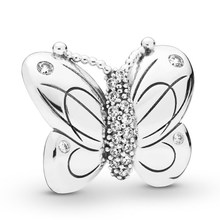 Authentic 925 Sterling Silver Decorative Butterfly With Crystal Charm fit Lady Bracelet Bangle DIY Jewelry(China)