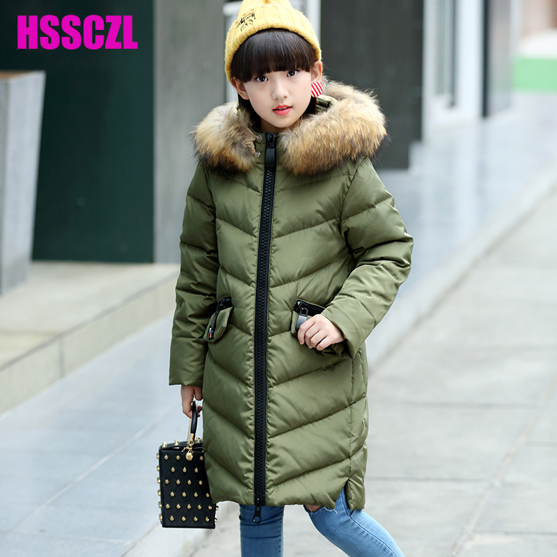 HSSCZL Girls down jacket 2017 Brand Winter Thicken Hooded Big Natural Fur Collar Long Down Coat Outerwear Parkas Overcoat 5-14A 2016 new hot winter thicken warm woman down jacket coat parkas outerwear hooded raccoon fur collar long plus size straight cold