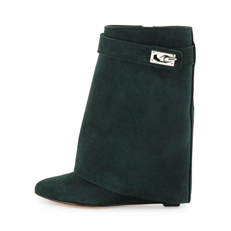 dad52054329 Shark Lock Genuine Leather Women Wedge Boots Height Increasing Fold ...