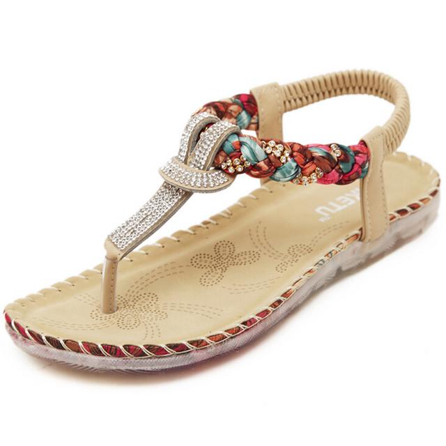 2016 novo sandálias Boêmio chinelos strass folk-custom planas grandes sapatos tamanho sapato feminino s191