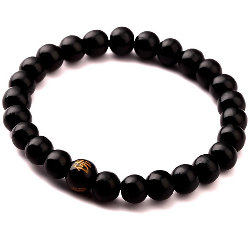 8mm Black Brown Color Wood Chain Beaded Bracelet Energy Buddhist Rayer Hand Bangle Charm Mala Bracelets Jewelry