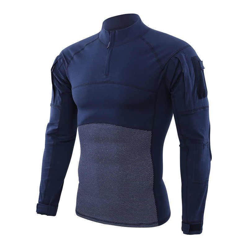 זכר טקטי מדי ארוך שרוול T חולצה גברים הסוואה צבא חולצת Combat Airsoft פיינטבול בגדי מרובה חולצה למעלה