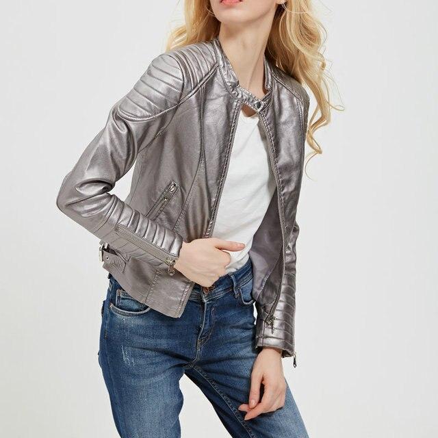 d652f988783b70 2018 nowy kobiety moda wiosna jesień Faux Leather Biker kurtki damskie  brązowy Slim elegancki zamek motocykl