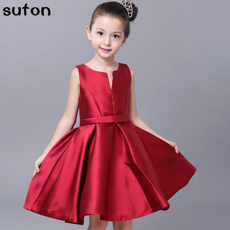 642122a870e4 2017 Summer Red Girl Dress High-grade Noble Fashion Sleeveless Party Tutu Dress  Girl Kids Clothes 3-11 Years