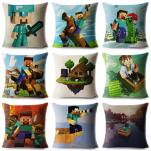 2019 New Geometry Minecraft Throw Pillow Cover Square Cushion Covers Cartoon Linen Case Car Sofa Home Decor Pillows Cases