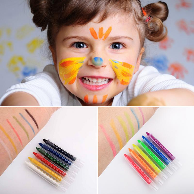 Washable 6 Colors Face Paint Kit Chalk Pencils Splicing Structure Pen Stick For Kids Party Children Gift Toy