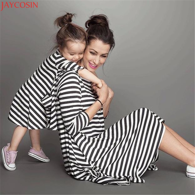 Women Dress Summer Dresses Mother Black And White Striped Dress Casual Family Clothes Women Long Dress Vestidos 2018 #03