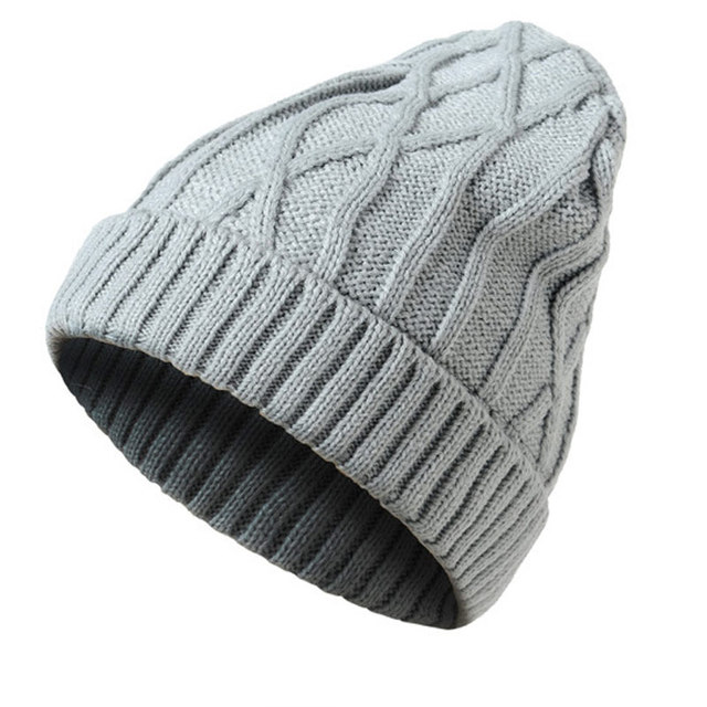 f19f40100f3 100% Acrylic Soft Stretch Diamond Plaid Winter Hat Men Women Knitted Hat  Beanies Skull Cap