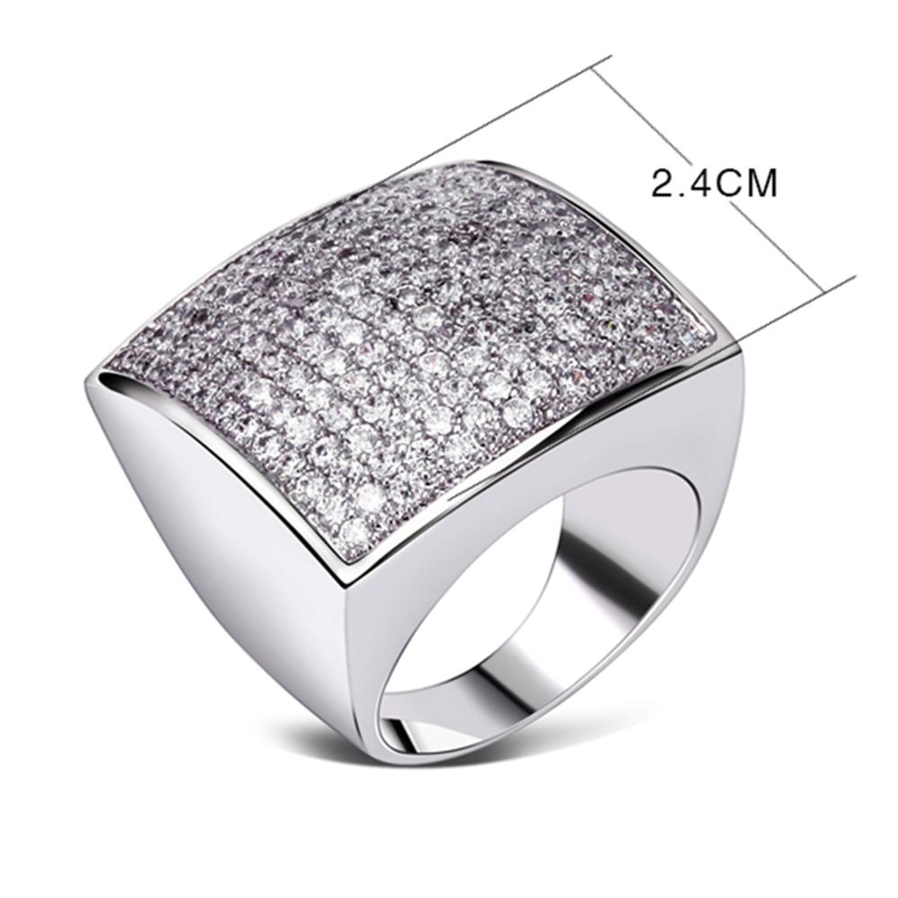 Forma quadrada única grande anel de jóias de alta qualidade Classic - Bijuterias - Foto 6