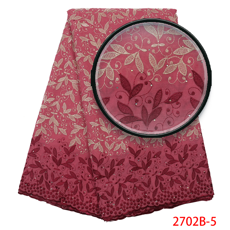 Cotton Lace Fabric 2019 Latest Swiss Voile Lace High Quality African Lace Fabric Embroidery With Stones For Women KS2702B-5