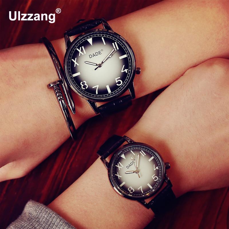 Noir Mode DADE Marque En Cuir Casual Quartz Montre-Bracelet Horloge Cadeau  pour Hommes Femmes Unisexe Étudiants 3ab56f1de7a