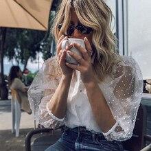 Elegant turn down collar women blouse shirt half sleeve dot female top transparent