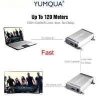 YUMQUA 1080 P без потерь HDMI Extender более Cat5/Cat5e/Cat6 быстро без потерь HDMI Extender Поддержка до 120 м приемник передатчик