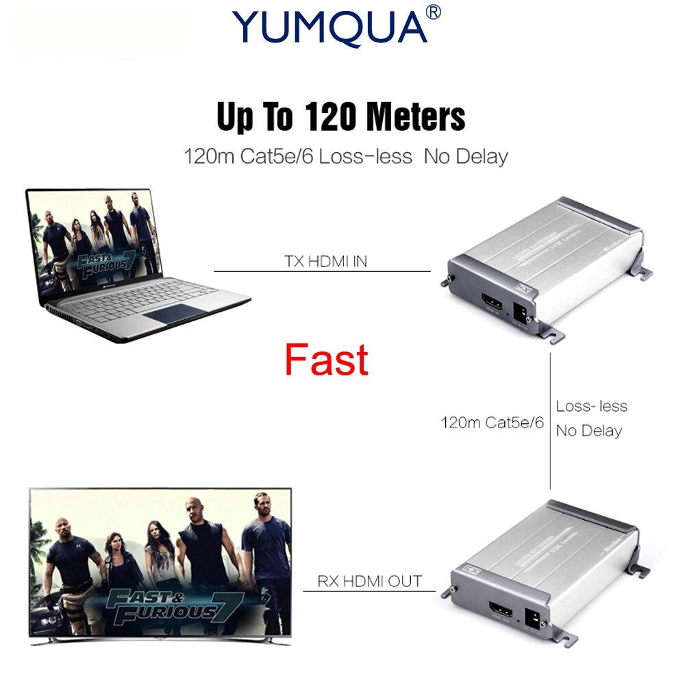 цена на YUMQUA 1080P Lossless HDMI Extender Over Cat5/Cat5e/Cat6 Fast Lossless HDMI Extender Support Up to 120m Transmitter Receiver