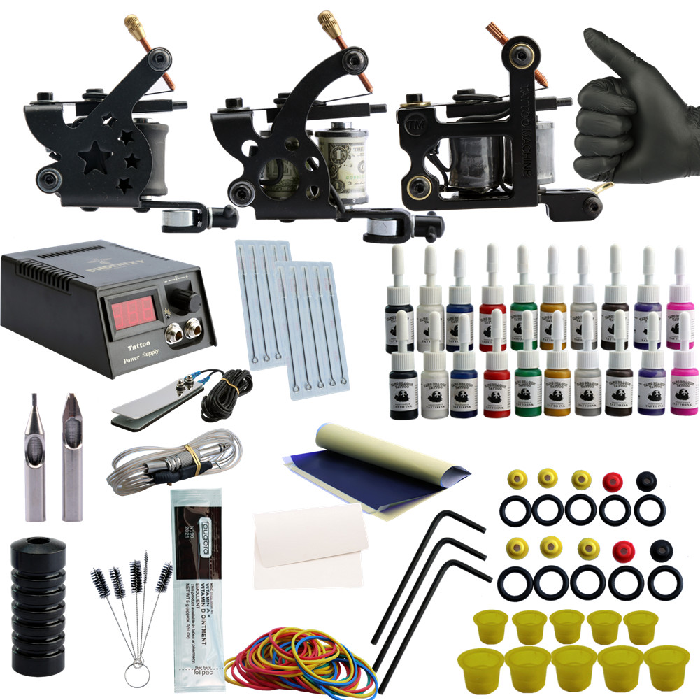Tattoo Set Complete Equipment Machine 3 Gun Tattoo Kit Power Supply Cord Kit Body Rotary 20 Ink Sets Power Supply Tattoo Kit 10 pcs high quality led screen mini tattoo power supply mini power supply tattoo power tattoo ink kit supplies