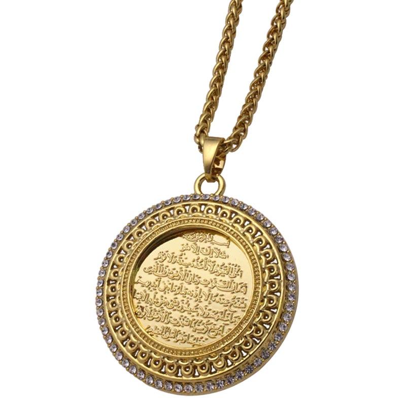 Zkd AYATUL KURSI collier pendentif en cristal islam musulman arabe dieu Messager cadeau bijoux