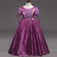 Hot Sale Girls Rapunzel Princess Dresses Kids Cosplay Costume Party Dress Purple Cross Children Cinderella Sofia