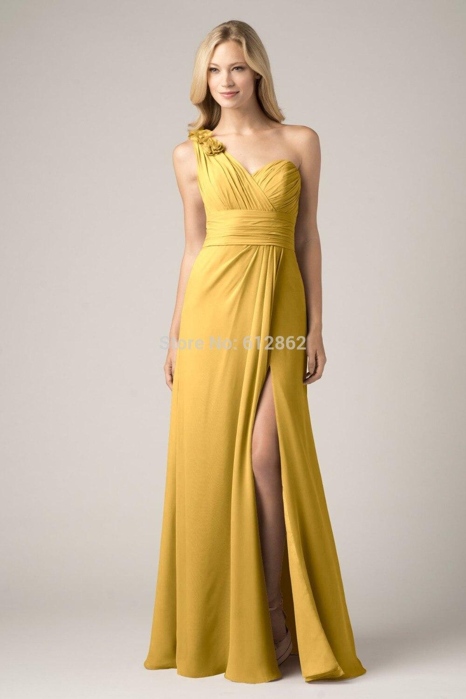 2017 sleeveless one shoulder chiffon slit long bridesmaid dresses gold colorchina mainland - Gold Color Dress
