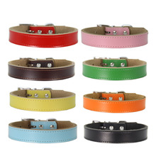 1 piece puppy dog collar solid color adjustable supplies good quality PU cat rope soft pet necklace products collars