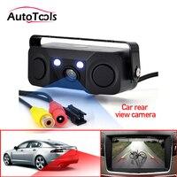 3 em 1 sensor de estacionamento câmera de visão traseira do carro com 2 sensores indicador buzzer alarme reverso radar sistema de assistência do carro câmera