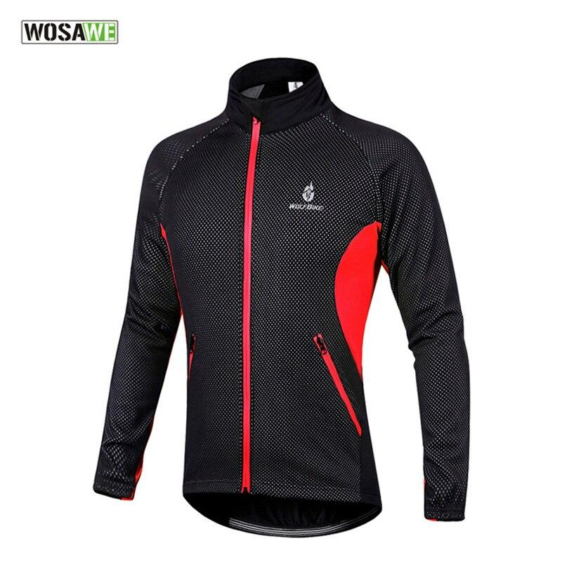 Hiver hommes veste de cyclisme à manches longues réfléchissant thermique polaire imperméable vtt VTT vtt vestes vélo sport manteau