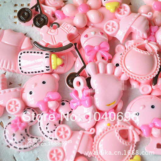 10pcs/lot Mixed Designs Cute Baby Series Yellow & Pink Resin Flat Back Cabochon For DIY Phone,nail Art Decoration
