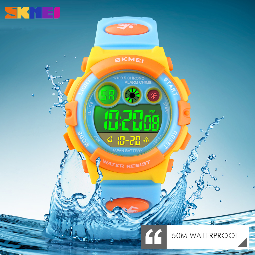 <font><b>SKMEI</b></font> Fashion Children Sport Watch Outdoor Chronograph LED Digital Clock Waterproof Wristwatch for Boy Girl Gift Montre Enfant image