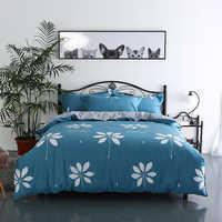 Azul claro blanco hermoso patrón de impresión ropa de cama juego de cama de calidad de dibujos animados 4 piezas funda de edredón juego de cama fundas de almohada de tamaño Queen