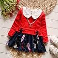 IAiRAY новый 2017 весна малышей девушка одежда набор девочка мило с длинным рукавом dress красный лук футболку пуловеры дети бальные платья