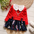 iAiRAY new 2017 spring toddler girl clothing set baby girl cute long sleeve dress red bow tee shirt pullover kids party dresses
