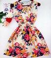 2017 outono verão novas mulheres coreanas casuais boêmio leopardo floral sem mangas vest impresso praia chiffon dress vestidos wc0344