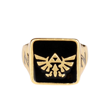 MQCHUN Game Triforce Square Rings Hip Hop Style Breath of the Wild Enamel Gold Color