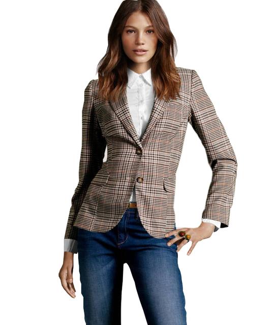 Novo 2016 da Manta Do Vintage Mulheres Remendo Cotovelo Dois Botões Blazer Senhoras Outono Jaquetas Básicas Causal Suit Jacket chaquetas mujer