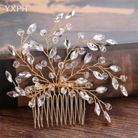 YXPH 2017 New Hot Sale Bride Handmade Crystal Hair Comb Gold Silver Wedding Dress Accessories Headdress