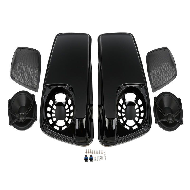 Black Saddlebag Lids W/ 5X7 Speakers For Harley Touring Road King Road Electra Street Ultra-Classic FLHRC FLHT FLT 14-18 saddlebag lid rack top rail w light for harley touring ultra street electra glide 94 13
