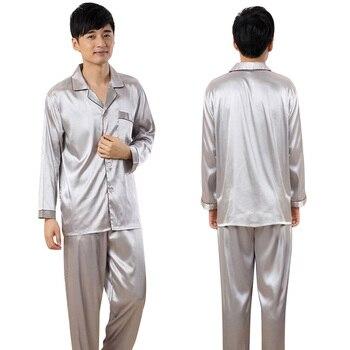 Pijamas de seda de imitación para hombre ropa de casa para hombre camisones de satén pijamas conjuntos 2 piezas