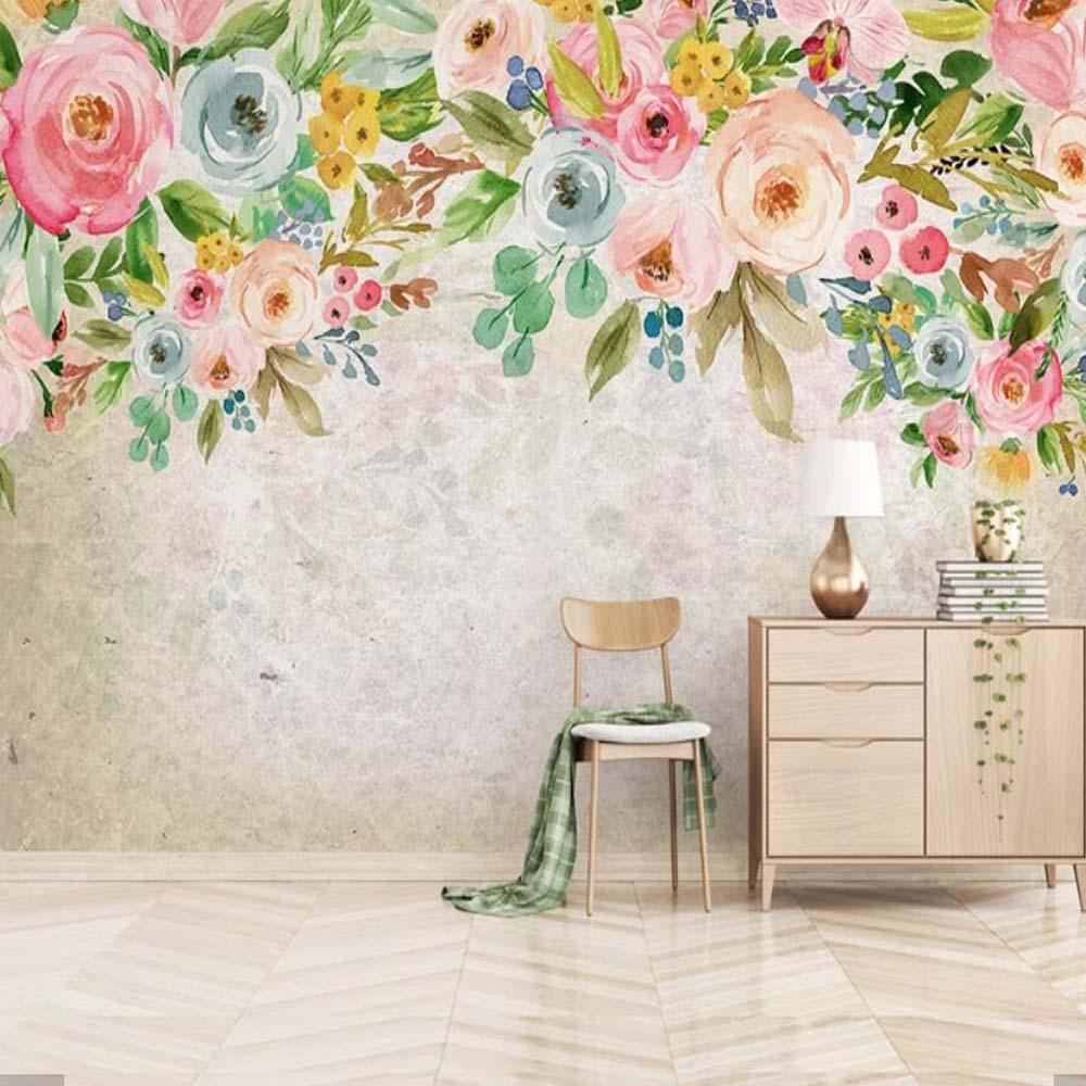Modern 3d Flower Wallpaper Mural For Living Room Wedding Room Wall