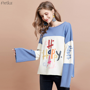 ARTKA 2019 Autumn New Women Sweatshirt 100% Cotton Fashion Graffiti Print Sweatshirt O-Neck Pullover Casual Sweatshirt VA15491Q artka 2019 autumn new women sweatshirt 100% cotton fashion print hoodie sweatshirt o neck pullover casual hoodies women va10399q
