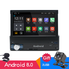 DHL/EMS 1Din Android 8.0 Car Radio Stereo GPS RAM 2G Quad Core RDS FM AM Universal 7 Touch 1024X600 Bluetooth WIFI Mirror Link 2 din android 2g 16g car dvd stereo universal gps wifi radio bluetooth quad core 7 1024 600 fm am swc remote control for nissan