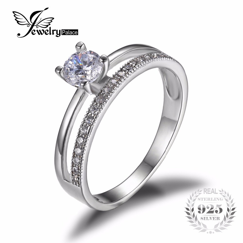 jewelrypalace 06ct cubic zirconia anniversary wedding band engagement ring set guard enhancer real 925 sterling - Wedding Ring Guard