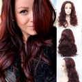 Females Cheap Ombre Wig Synthetic Lace Front Wigs Long Sexy Wavy Red Wine Color Hair Wigs Pop Synthetic Lace Front Wig