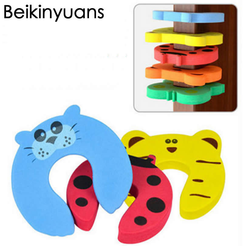 5pcs Door Stopper Animal Baby Security Card Protection Tool Baby Safety Gate Product Newborn Care Eva Door Locks Baby Anti-Clamp