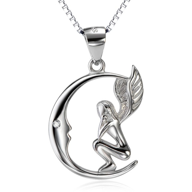 Pure 925 sterling silver angel pendants necklaces women jewelry pure 925 sterling silver angel pendants necklaces women jewelry silver angel moon floating pendant necklace gnd0556 aloadofball Gallery