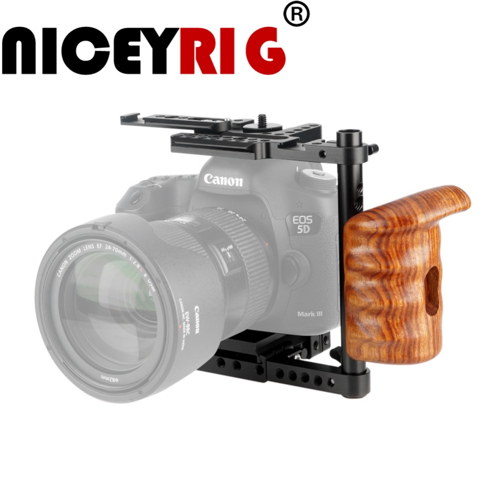 NICEYRIG Camera Stabilizer DSLR Camera Cage with Wood Handle Grip for Canon for Nikon for Panasonic Bracket Photo Studio Kit