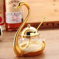 Europen metal storage/sugar kitchen jar gold and sliver color Creative spice jar glass storage bottles lovely swan coffee TWG004