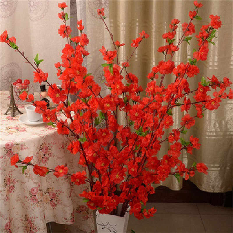 Kunstmatige Cherry Lente Pruim Perzik Bloesem Tak Zijde Bloem Thuis Bruiloft Decoratieve Bloemen Plastic Perzik Boeket 65CM