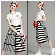 2 piece set women cropped tops and pants summer clothes short sleeve white black t shirt striped patchwork wide leg trouser suit