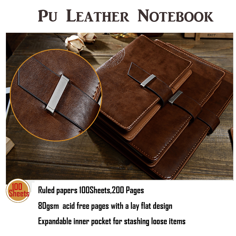 Vintage Notebook Filler Paper Leather Journal Daily Luxury Style Planner Loose-Leaf Notepad Spiral Organizer A5 A6 B5